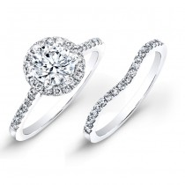 14k White Gold White Diamond Halo Bridal Set