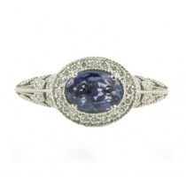 Barry Kronen Blue Sapphire and Diamond Ring Top S-2722WBS