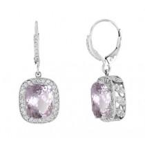 Barry Kronen Kunzite and Diamond Halo Earrings S-2573WK