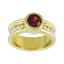 Bezel Set Garnet and Diamond Ring 15514
