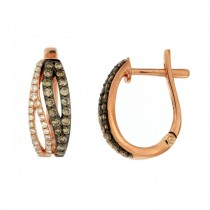 Chocolate and White Diamond Hoop Earrings 27752
