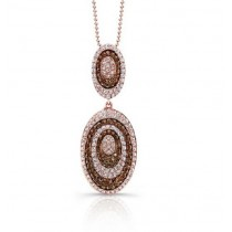 Chocolate and White Diamond Oval Frame Pendant 28667