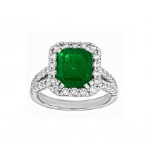 Emerald Cut Emerald and Diamond Halo Ring Top 24101