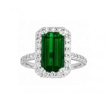 Emerald Cut Green Tourmaline and Diamond Ring Top 24100