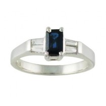 Emerald Cut Sapphire and Diamond Ring 15485