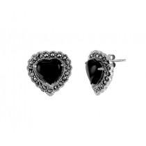 Heart Shape Onyx and Marcasite Earrings 24684