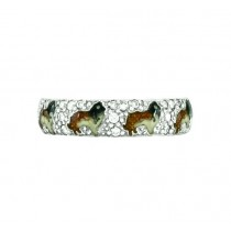 Hidalgo Enamel Collie Dogs Ring RS7970WG