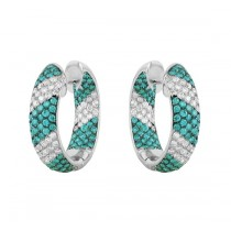 Inside Out Blue and White Diamond Hoop Earrings 10126