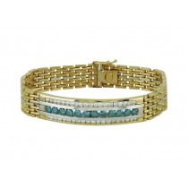 Mens Blue and White Diamond Bracelet 15078