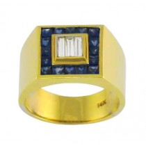Mens Blue Sapphire and Diamond Ring 17912