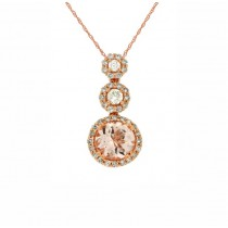 Morganite and Diamond Halo Pendant 27768