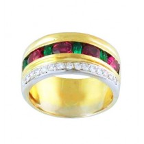 Multi Gemstone and Diamond Ring 15583