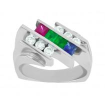 Multi Gemstone and Diamond Ring 15595