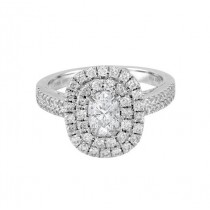 Oval Double Diamond Halo Ring Top 23441