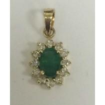 Oval Emerald and Diamond Pendant 26899