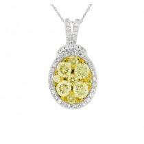 Oval Frame Yellow and White Diamond Pendant 27740