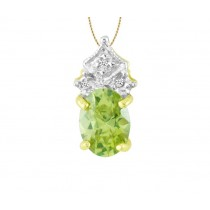 Oval Green Topaz and Diamond Pendant 21788
