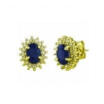 Oval Sapphire and Diamond Halo Earrings 22048