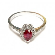 Pear Shape Ruby and Diamond Halo Ring 25349