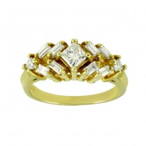Princess Cut and Baguette Diamond Ring 15660