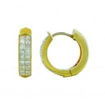 Princess Cut Diamond Hoop Earrings 26948