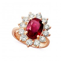 Ruby and Diamond Halo Ring 27908