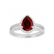 Split Shank Ruby and Diamond Ring 23746