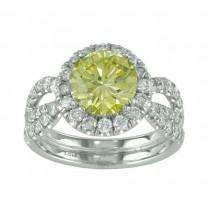 Split Shank Yellow and White Diamond Ring Top 18795