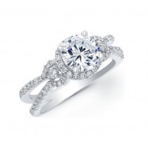 Three Stone Diamond Halo Engagement Ring 17645-W
