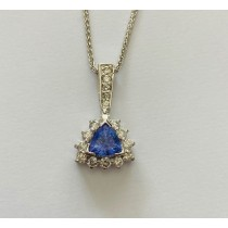 Trillion Shape Tanzanite and Diamond Pendant 28083