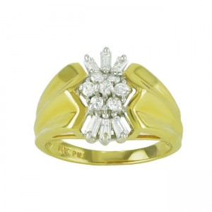 Baguette and Round Diamond Ring 15555