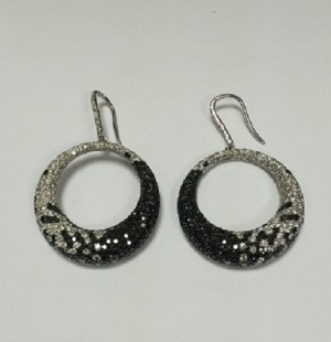 Black and White Diamond Circle Earrings 25642