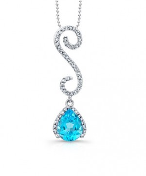 Blue Topaz and Curvy Diamond Pendant 24349