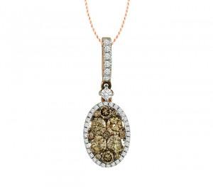 Chocolate and White Diamond Cluster Pendant 25479