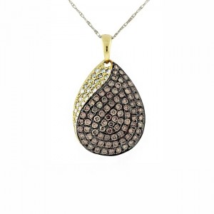 Chocolate and White Diamond Twist Pendant 27771