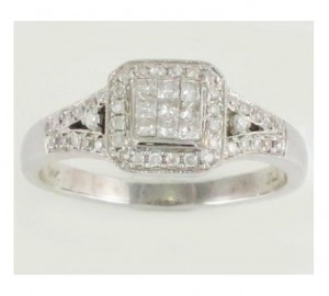 Diamond Cluster Halo Engagement Ring 20917