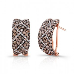 Geometric Pattern Chocolate and White Diamond Earrings 28843