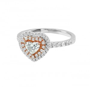 Heart Shape Double Diamond Halo Ring 25759