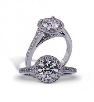 Lazare Diamond Halo Engagement Ring LR025K003PTS-M04S