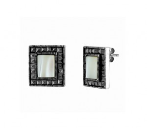 Mother of Pearl and Marcasite Stud Earrings 24662