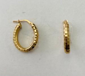 Oval Diamond Cut Hoop Earrings 28981
