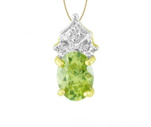 Oval Green Topaz and Diamond Pendant 21788