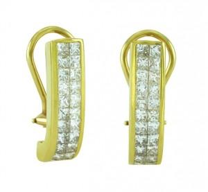 Princess Cut Diamond Earrings 10434
