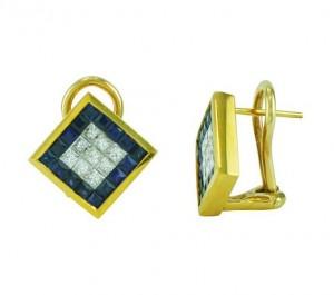Princess Cut Sapphire and Diamond Earrings 10256