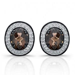 Black Sterling Silver Diamond Smokey Quartz Earrings
