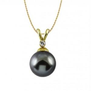 Tahitian Black Pearl and Diamond Pendant 21376