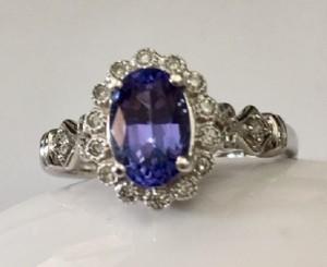 Tanzanite and Diamond Halo Ring 26056