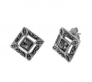 Tilted Marcasite Stud Earrings 24661