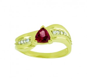 Trillion Cut Rhodolite Garnet and Diamond Ring 23645