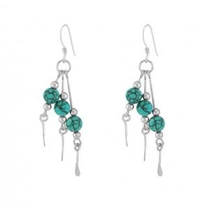 Triple Drop Turquoise Bead Earrings 24678